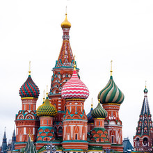 St. Basil's Cathedral In Moscow, Russia. Winter, White Sky Background