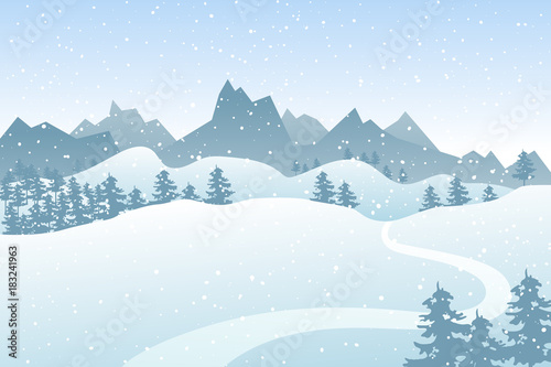 Fotobehang Lichtblauw Flat winter vector landscape with silhouettes of trees, hills and mountains with falling snow.