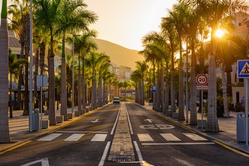 Avenue las Americas in Playa de la Americas on Tenerife, Canary Islands in Spain.