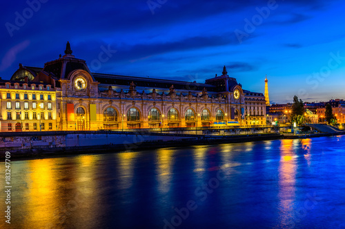 Fotografiet Night view of Orsay Museum (Musee d'Orsay) in Paris, France