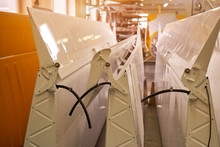 New Airplane Wings. Aircraft Parts, Workshop.