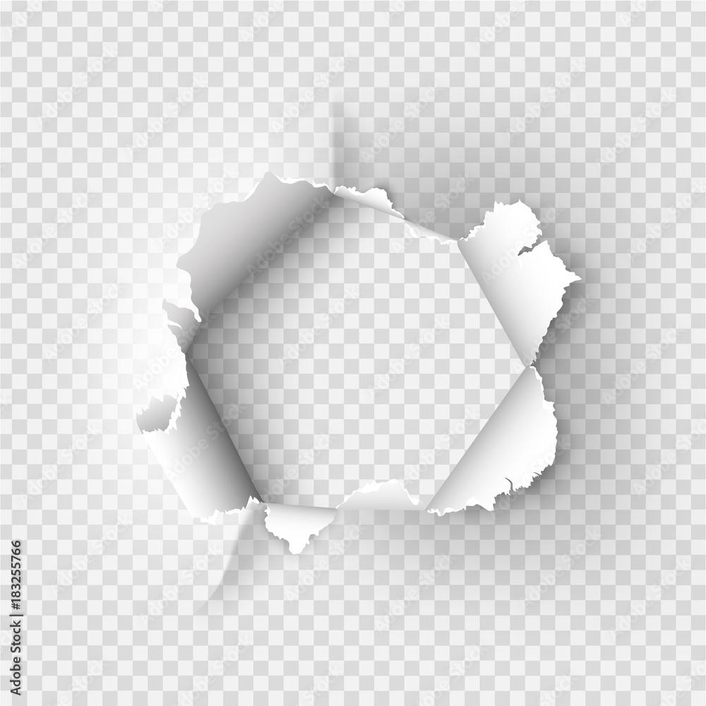 Fototapeta ragged Hole torn in ripped paper