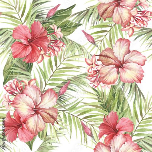 Tropikalny wzór. Liście palmowe i hibiskusa. Ręcznie rysować ilustracji akwarela.