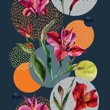 Watercolor decorative flowers and leaves, circle shapes filled with watercolour, minimal doodle textures on background. - 183262131