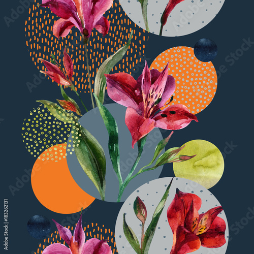 Fotoposter Grafische Prints Watercolor decorative flowers and leaves, circle shapes filled with watercolour, minimal doodle textures on background.