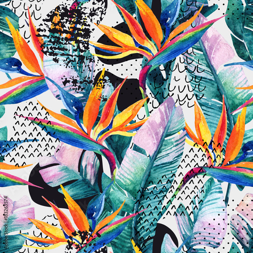 Watercolor tropical seamless pattern with bird-of-paradise flower. Exotic flowers, leaves, smooth bend shape filled with doodle, minimal, grunge texture. abstract background. Hand painted illustration