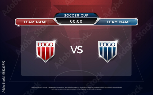 Football Scoreboard And Team Broadcast Graphic Soccer Template Score For