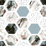 Fototapeta Teenage - Watercolor hexagon with stripes, water color marble, grained, grunge, paper textures.