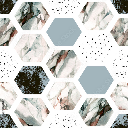 Photo sur Aluminium Empreintes Graphiques Watercolor hexagon with stripes, water color marble, grained, grunge, paper textures.