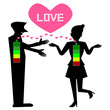 love level, full battery illustration, Silhouette man and woman on white background