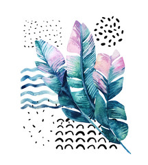 Obraz na SzkleArt illustration with tropical leaves, doodle, grunge textures, geometric shapes in 80s, 90s minimal style.