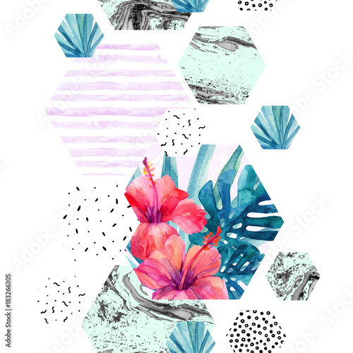 Abstract watercolor tropical seamless pattern.