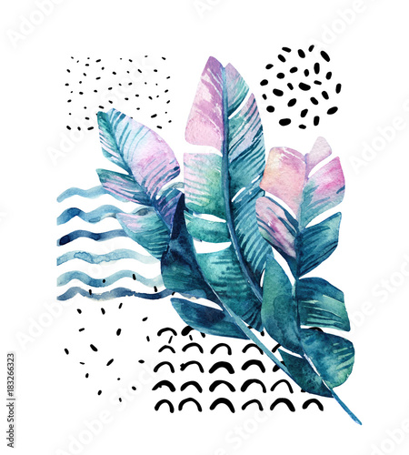 Fotobehang Grafische Prints Art illustration with tropical leaves, doodle, grunge textures, geometric shapes in 80s, 90s minimal style.