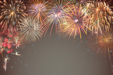 Multicolor Firework Celebration Over The Working Space For Text On Transparent Background, Greeting And Card Celebration Concept