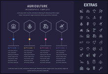 Agriculture Options Infographic Template, Elements And Icons. Infograph Includes Four Options, Line Icon Set With Agriculture Food, Farm Animal, Agricultural Business, Farming Tools, Organic Fruit Etc