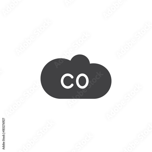 Vászonkép CO gas cloud icon vector, filled flat sign, solid pictogram isolated on white