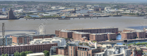 Aerial View of Echo Arena and Albert Dock, Liverpool, UK. Canvas Print