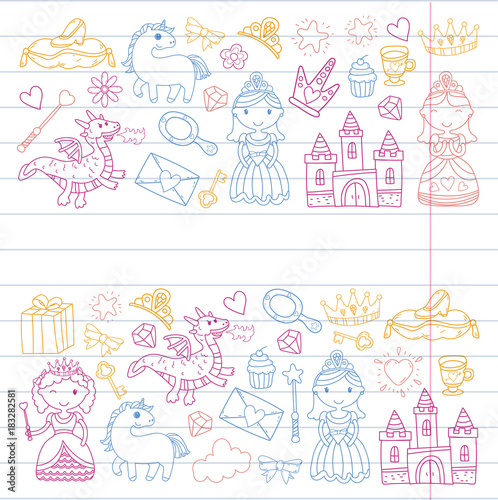 Foto auf AluDibond Boho-Stil Set of doodle princess and fantasy icon and and design element for invitation and greeting card. Kids drawing. Kindergarten, preschool, school pattern
