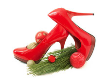 Red Shoes, New Year Tree And Balls Isolated On White Background. New Year Sales Concept