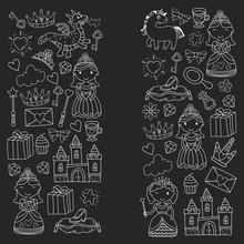 Set Of Doodle Princess And Fan...