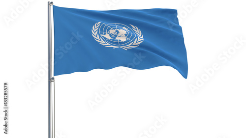 Fotografie, Obraz  Isolate flag of the United Nations - UN on a flagpole fluttering in the wind on