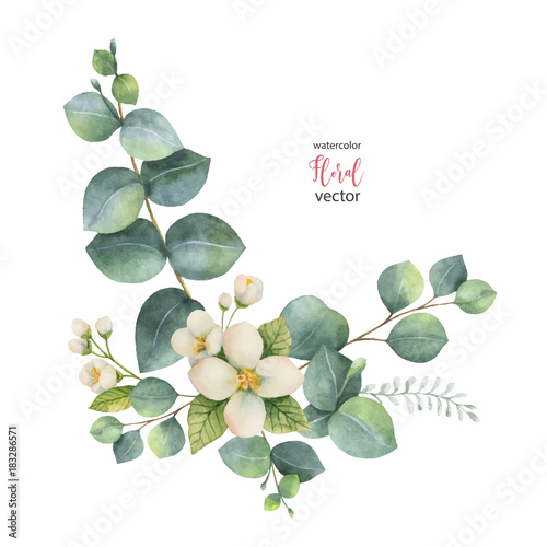 Watercolor vector wreath with green eucalyptus leaves and Jasmine фототапет