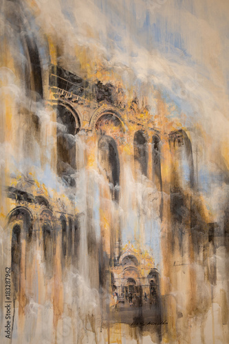 Abstract Painting Art: Blurred Architecture with Yellow Colors