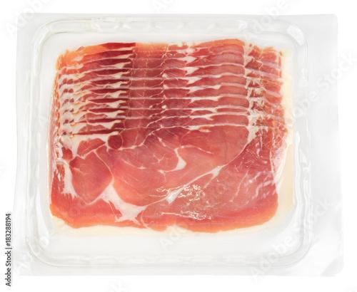 Prosciutto slices in transparent vacuum plastic packaging
