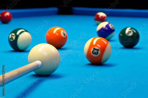 Canvas Billiard pool eightball taking the shot on billiard table