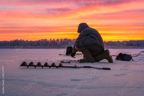 Poster Peche winter sport ice fishing