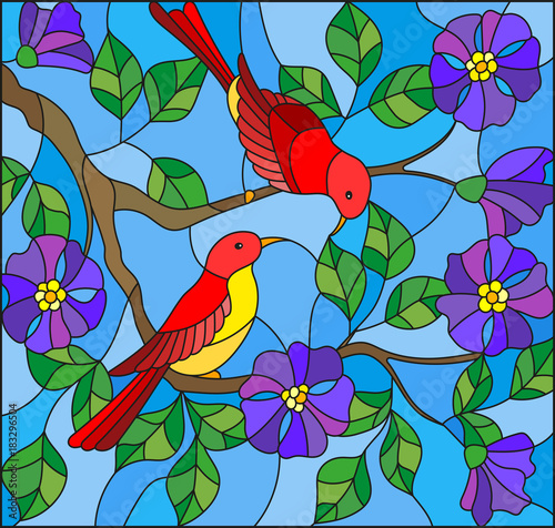 Fotobehang Papegaai Illustration in stained glass style with two two bright red birds on the branches of blooming wild rose on a background sky