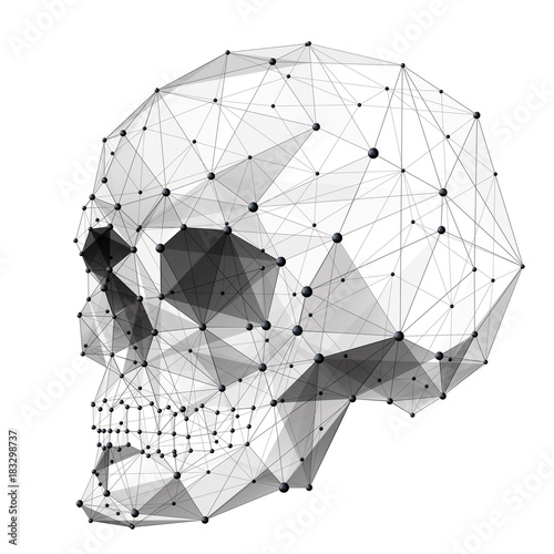 Vector Isolated Human Skull Low Poly From Metall Wireframe And