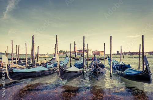 Poster Gondolas Berth with gondolas in Venice, Italy