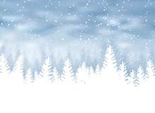 Christmas Winter On Blue Backg...