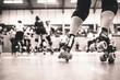 Leinwanddruck Bild - Legs of a roller derby player - close up