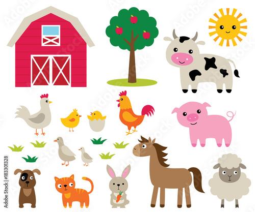 Farm animals set Wall mural