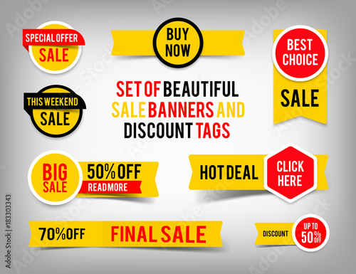 Fototapeta Set of banner elements, vector offer tag collection, discount label design, sale web coupons promotion badge icons retail sign collection, best price business poster obraz