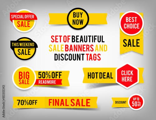 Fotomural Set of banner elements, vector offer tag collection, discount label design, sale