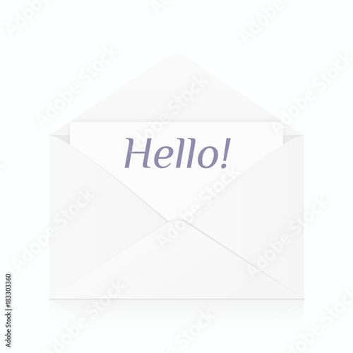 White Realistic Envelope Mockup Open Template Isolated With Reflection Vector Object Eps 10 01