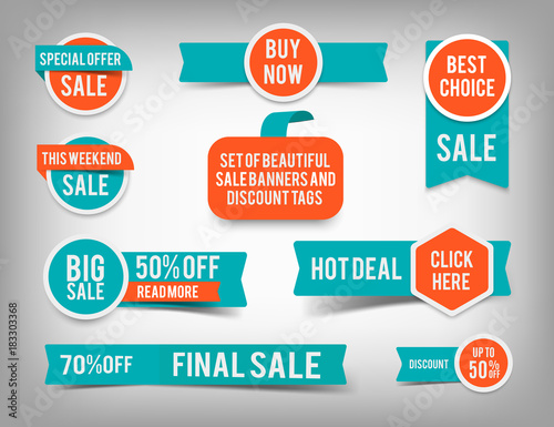 Set of banner elements, vector offer tag collection