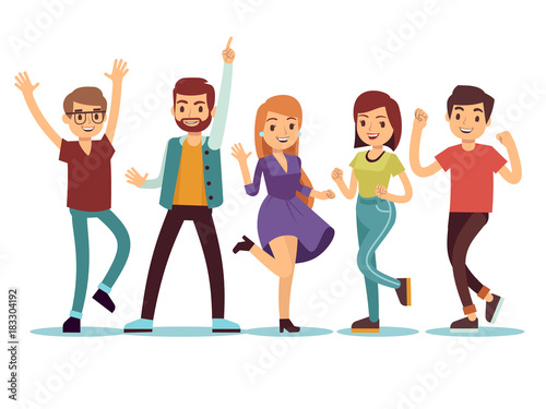 Christmas Party Images Cartoon.Happy Smilling Dancing Young Persons At Christmas Party