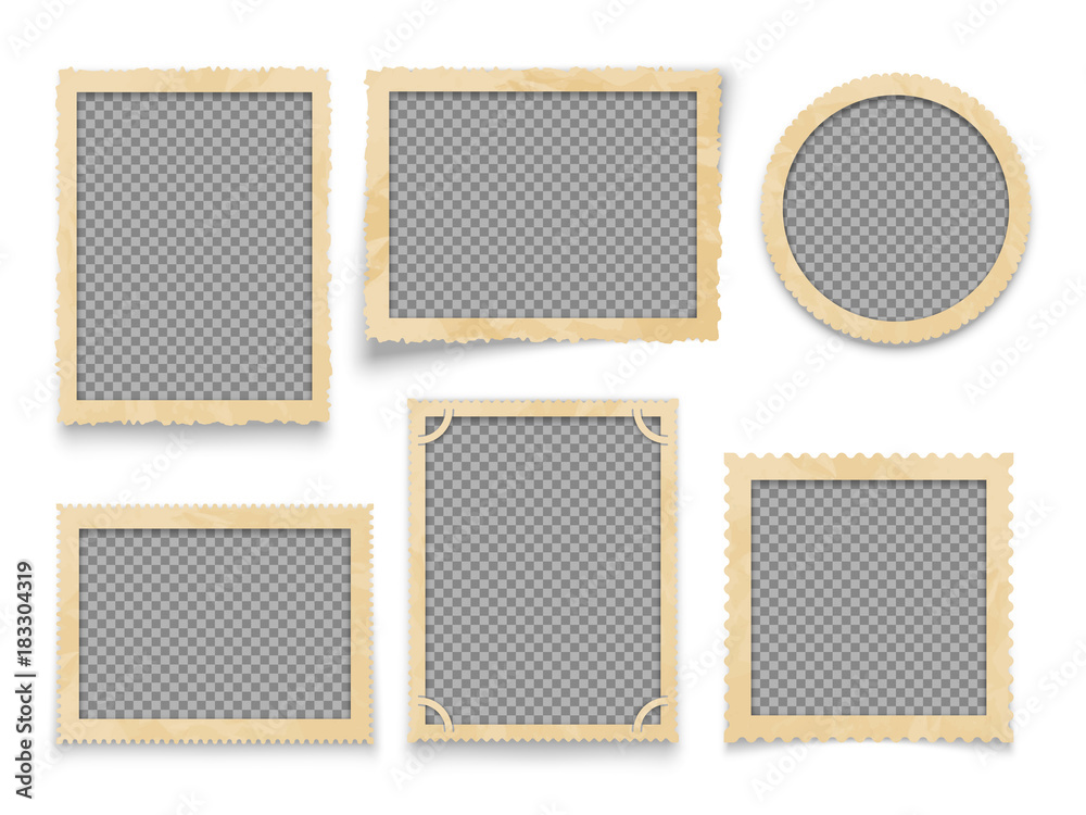 Fototapety, obrazy: Vintage photo frames isolated. Vector antique picture borders collection