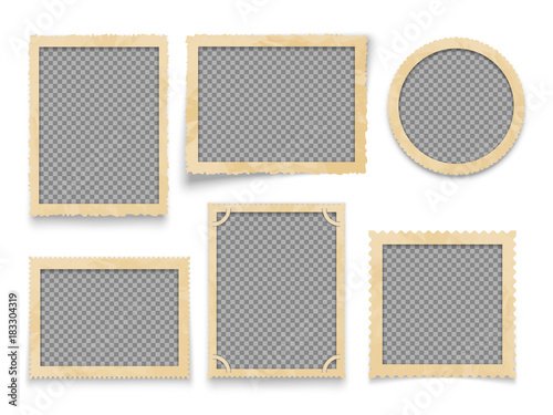 Obraz Vintage photo frames isolated. Vector antique picture borders collection - fototapety do salonu