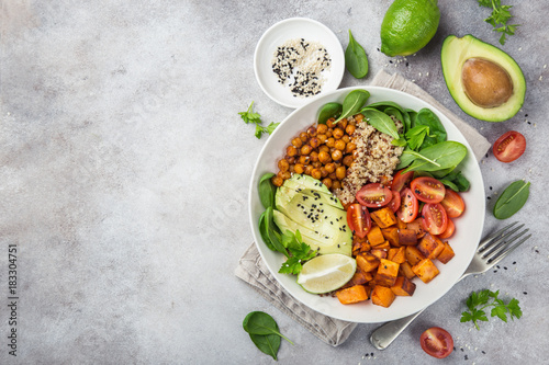Fotografia healhty vegan lunch bowl