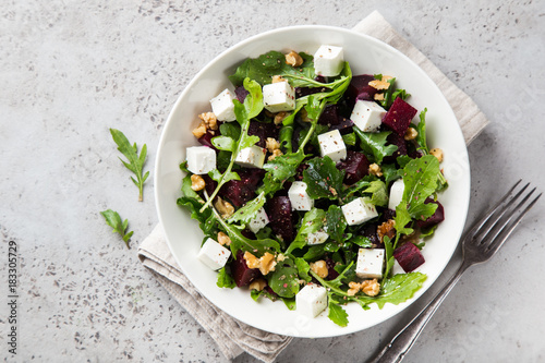 beetroot, arugula, feta cheese and walnut salad