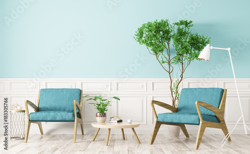 Interior of living room with two armchairs 3d rendering