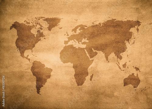Foto op Aluminium Wereldkaart grunge map of the world.