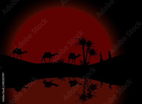 Poster Violet Reflection in water Silhouette of Caravan mit people and camels wandering through the deserts with palms at night and day. Vector Illustration.