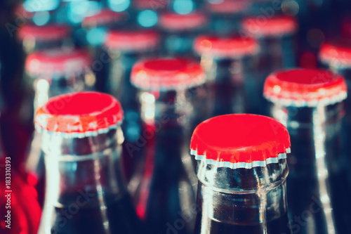 Fotografie, Obraz  soft drinks in bottles background