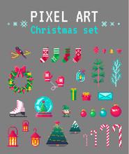Cute Pixel Art Christmas Set F...